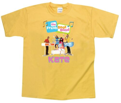 Pink and Yellow Blue The Fresh Beat Band Personalized Custom Shirt in White