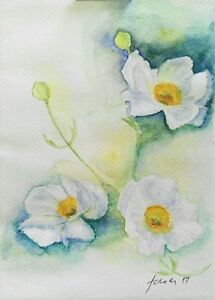 Small watercolour white flower painting a5 original australian image is loading small watercolour white flower painting a5 original australian mightylinksfo