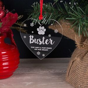 Personalised Christmas Tree Decoration Bauble Pet Paw Print Dog Cat Gift