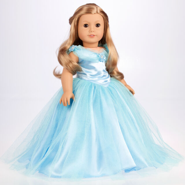 Cinderella - 18 inch Doll Clothes, Blue Gown Silver Slippers