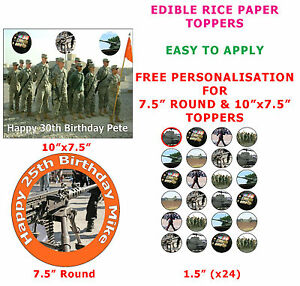 Personalised Army Birthday CakeCupcake Toppers On Rice Paper eBay