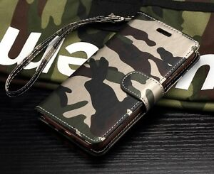 NEW CAMO WALLET DIARY PHONE CASE COVER W STRAP FOR IPHONE  SAMSUNG LATEST MODEL