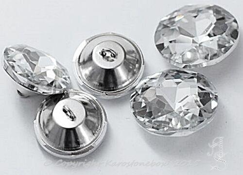 1 Stück Glas Knopf m.Öse Knöpfe Aufnähstein ca.20mm  Crystal Karostonebox