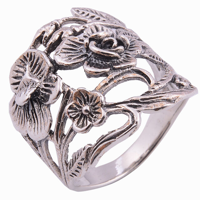 Flower Ring Sterling Silver Size.10 UK=T Nice