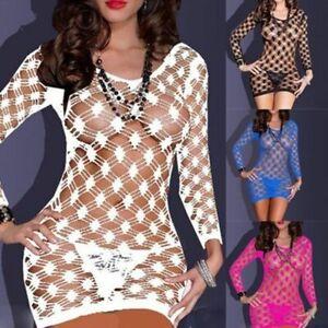 Women-Nightwear-Intimate-Sexy-Babydoll-Lingerie-Fishnet-Mini-Dress-Sleepwear
