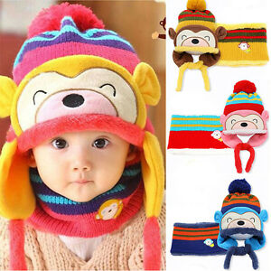 8eac8b1c9f6 Hottest Winter Boys Girls Toddler Hats Scarf Set Monkey Warm Cap for ...