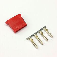 PK OF 5 FEMALE 4 PIN MOLEX PC PSU POWER SUPPLY CONNECTOR - DARK RED INC PINS