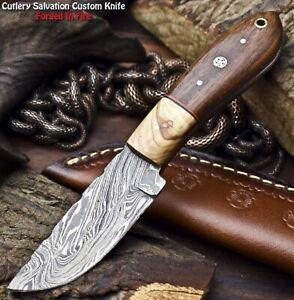 Handmade Damascus Hunting Skinning Blade Hunter Camping Full Tang Knife