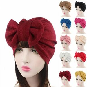 Coton-multi-couleur-femmes-Big-Bow-bonnet-chimio-turban-tete-foulard-chapeau