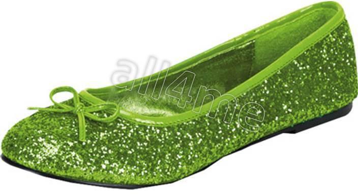 PLEASER FUNTASMA STAR-16g LIME GREEN GLITTER BALLET FLATS SIZES 5-12