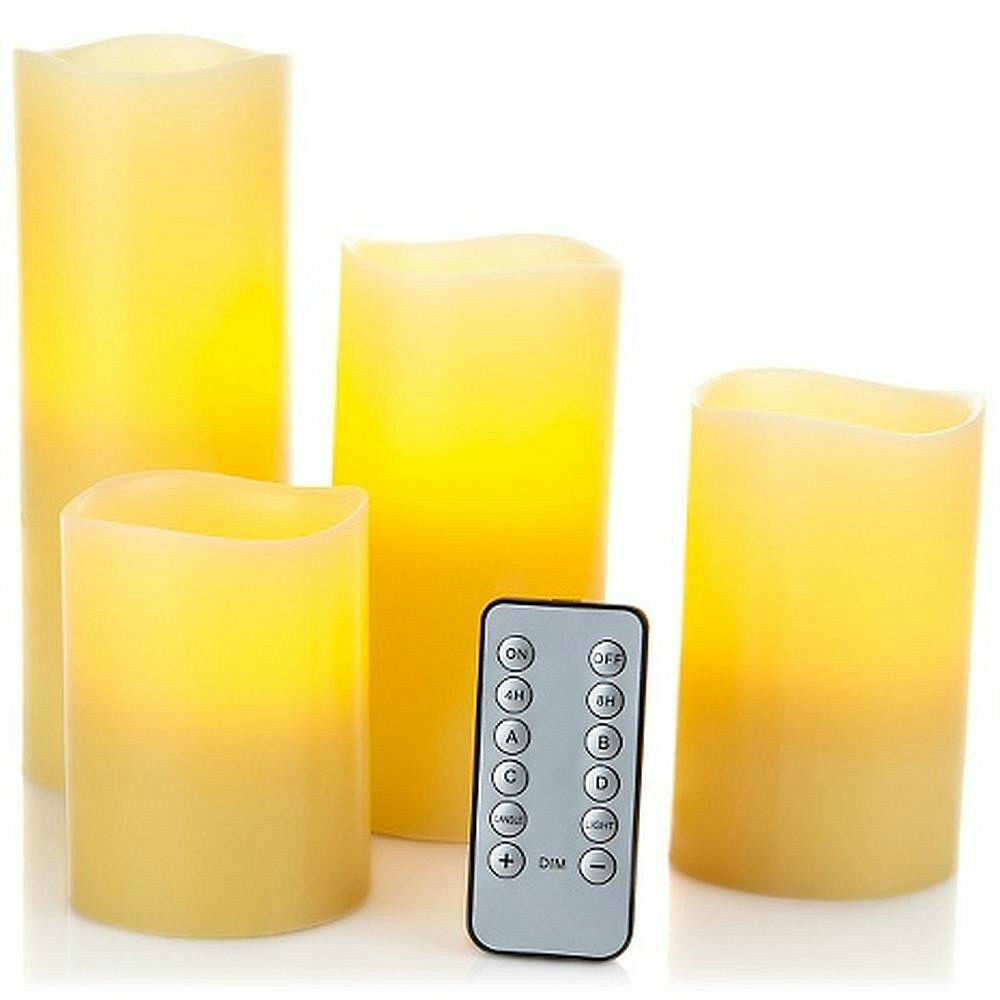 gold - Highgate Manor Set of 4 LED Flameless Candles w  Remote 4 , 5 , 6 , 8