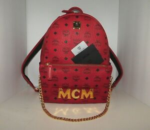 Details About Mcm Stark Trilogie Backpack Shoulder Bag Clutch Red Authentic