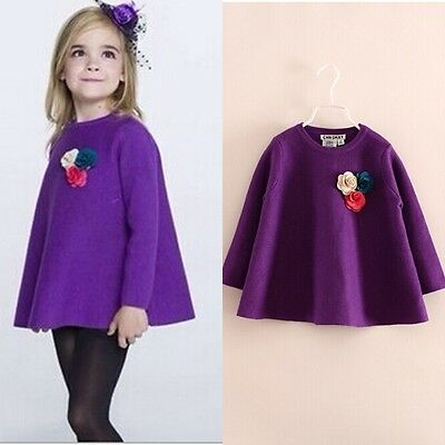 New Kids Girls Quality Flowers Cashmere Back Frenum Soft Feeling 2-8T S704