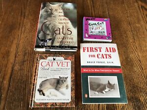 Lot Of 3 Cat Vet First Aid Books & Cool Cat Ten Picture Frame