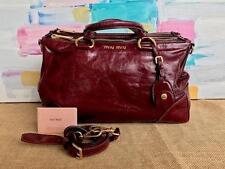 MIU MIU Red Leather Amaranto Vitello Shine Borsa Satchel Shoulder Bag Gold SALE