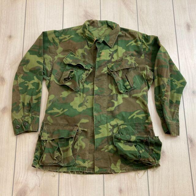 US Army Camouflage Poplin Shirt Jacket Vietnam Ripstop Cotton No Tags Distressed