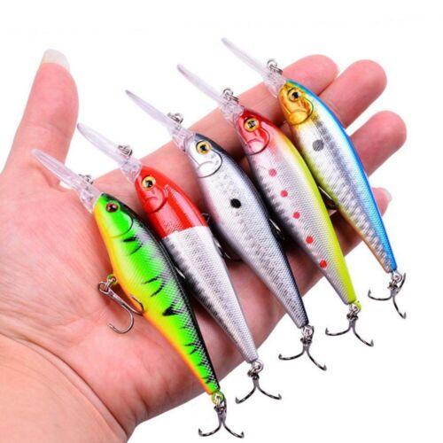 Lot Set Fishing Lure Mix Minnow Popper Crankbait Wobbler Tackle Bass Treble Hook
