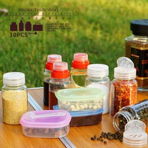 Satz Gewürzflaschen Set Camping Kochen Gewürzdosen Gewürzbehälter 10 Teile