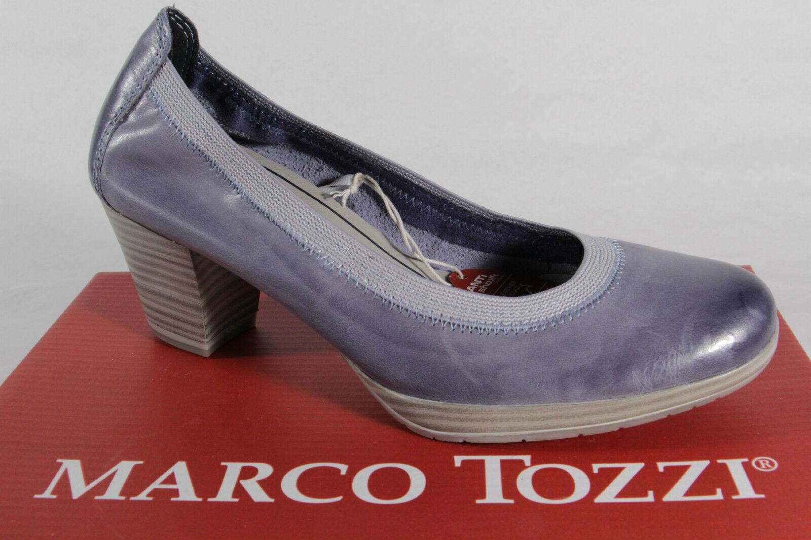 Marco Tozzi PUMPS BALLERINE pelle SLIPPER blu morbido sottopiede vera pelle BALLERINE NUOVO! 3e1b57