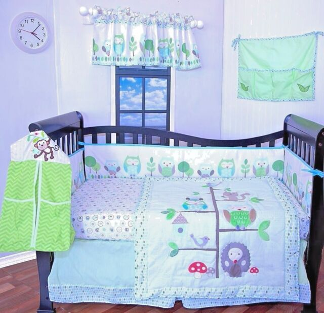 9 pieces Baby Boy/Girl crib bedding set,Owls,green purple Bumper included,NEW