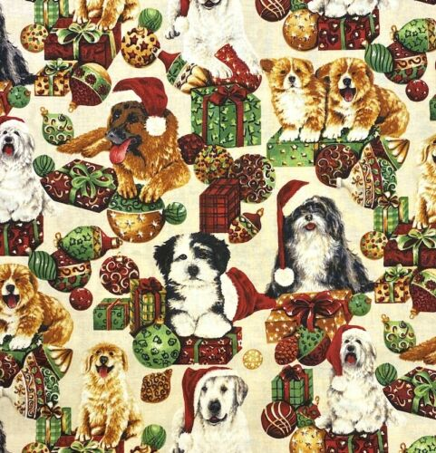 100/% Cotton Fabric John Louden Christmas Cute Puppies Dogs /& Presents Festive..