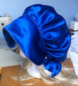 victorian edwardian adult baby fancy dress blue satin bonnet cap hat ... 94e44a19da2
