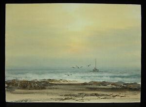Fisherman-amp-His-Her-Boat-Maree-in-Atlantic-Drawing-Original-c1970-Water-Gouache