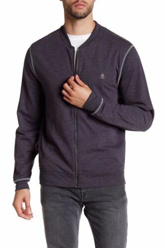 L $89 Grey M NWT New Original Penguin Men/'s Fleece Zip Bomber Sweatshirt