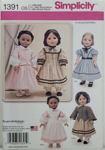 "Simplicity 1391 Old West Prairie /& Frontier Dresses 18/"" Doll Clothes UNCUT"