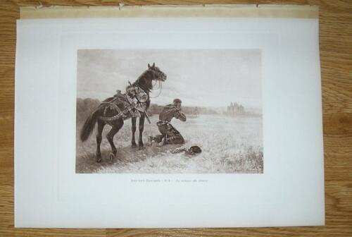 ANTIQUE KNIGHT WEEPING HOME HORSE EQUESTRIAN MIDDLE AGES CRUSADES CASTLE PRINT