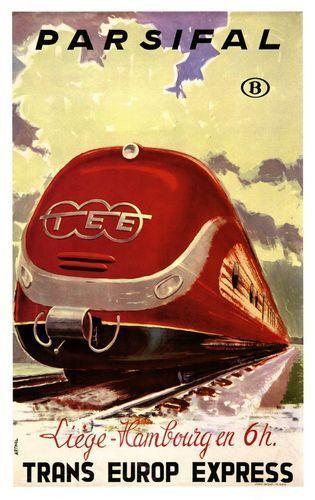 Vintage Liege Hamburg Trans European Express Railway Poster A3 A2  Reprint