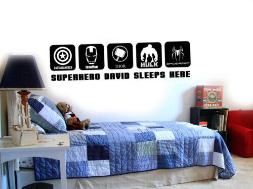 Marvels Home decore Avengers Superhero Personalised Boys Vinyl Wall Stickers