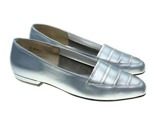California-Magdesians-Womens-Metallic-Blue-Silver-Leather-Flats-Shoes-11M-USA