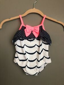New-Baby-Girl-Swimsuit-One-Piece-Gymboree-18M-18-Months-White-Navy-Neon-Ruffle
