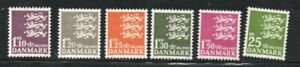 Denmark Sc 395-400 1962-65 Small State Seal stamp set mint NH