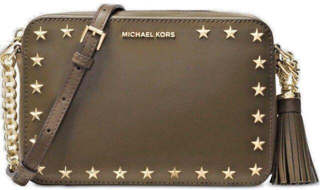 305949d8931009 NWT MICHAEL KORS GINNY STAR Medium Camera Crossbody Bag In OLIVE Leather