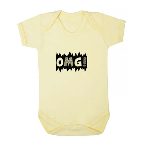 Infant Toddler Baby Cotton Bodysuit One Piece Black Word Omg
