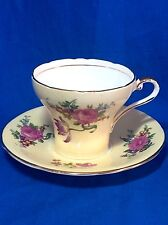 Aynsley English bone china yellow Rose Bouquet corset cup and saucer