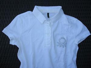 BENETTON-Piqué-Poloshirt, Tennis-Shirt, großes Logo, weiß Gr. S / 36-38 **NEU** - Deutschland - BENETTON-Piqué-Poloshirt, Tennis-Shirt, großes Logo, weiß Gr. S / 36-38 **NEU** - Deutschland