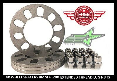 4X FORD EXPEDITION WHEEL SPACERS | 8MM THICK + 14X2 EXTENDED THREAD LUG NUTS