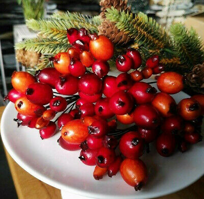 60 x Hagebutten Früchte Attrappen Dekoration Orange Kunstobst Dekofrüchte Herbst