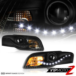 2006-2008-Audi-A4-Sedan-B7-Black-034-EURO-SPEC-CONVERSION-034-LED-DRL-Headlights-PAIR