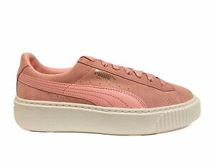 6eaa3c7a182 PUMA Women s SUEDE PLATFORM Shoes Pink Coral Cloud Whisper White ...