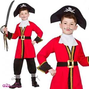 Boys-Pirate-Captain-Hook-Costume-Childs-Kids-Book-Week-Fancy-Dress-Outfit-Hat