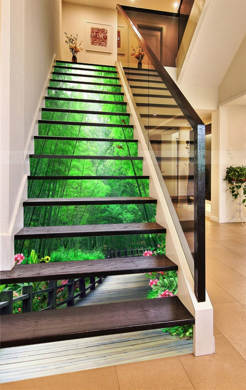 3D Bamboo Road 3 Stair Risers Decoration Photo Mural Vinyl Decal Wallpaper UK