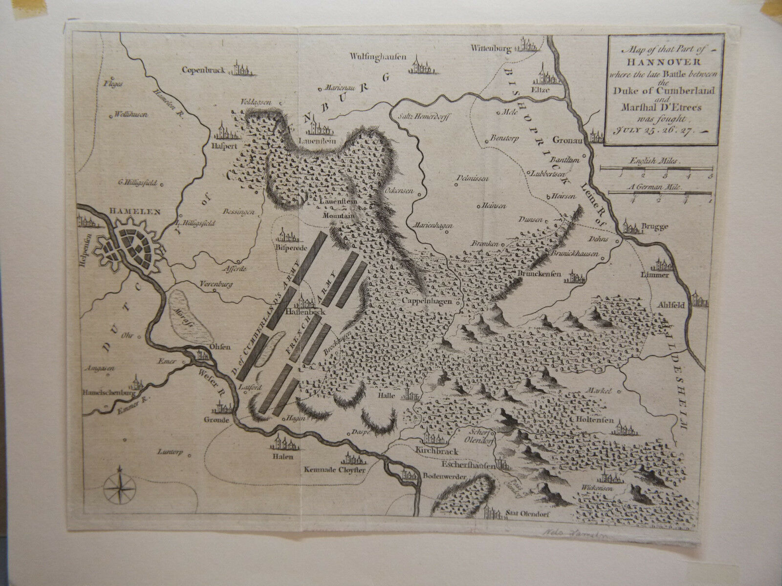 Alter Kupferstich  Karte  Map of that Part of Hannover ,wohl 1760
