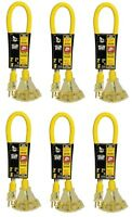 (6) Coleman Cable 2882 Power Block 2' Ft 15a 12 Ga Triple Outlet Extension Cords