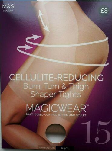 Tum cuisse Shaper Collants NAT Tan Medium 15 den Lot de 3 m/&s magicwear Cellulite Bum