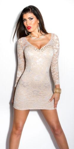 Koucla Elegant Cocktail Kleid Party Minikleid Abendkleid Dress Spitze Perlen