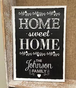 Personalisiert Home Sweet Zeichen Motiv Familie Kunst Name Tafel